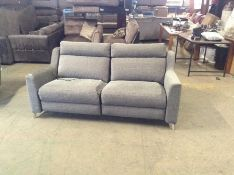 GREY ELECTRIC RECLINING 3 SEATER (DAMAGED CUSHION)