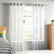 Zipcode Design, Taplin Eyelet Semi Sheer Curtain (WHITE)(145X183CM) - RRP £18.2 (ANSY1194 - 22320/