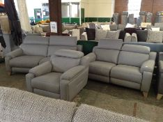 GREY FABRIC ELECTRIC RECLINING 2 SEATER WITH ADJUS
