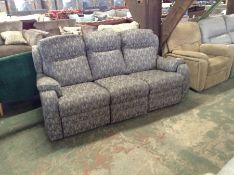 GREY PATTERNED MANUAL RECLINING 3 SEATER SOFA TR00