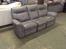 GREY LEATHER ELECTRIC RECLINING 3 SEATER SOFA TR00