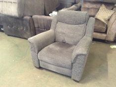 GREY ELECTRIC RECLINING CHAIR (RIP ON ARM) NO POWE