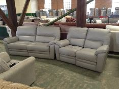 GREY LEATHER ELECTRIC RECLINING 3 SEATER & 2 SEATE