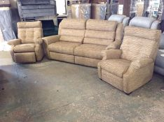BISCUIT PATTERNED HIGH BACK 3 SEATER, ELECTRIC REC