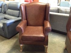 BROWN LEATHER WING CHAIR TR002157 W00917124