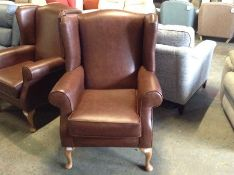 BROWN LEATHER WING CHAIR TR002157 W00917122