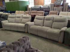 GREY PATTERNED HIGH BACK X2 3 SEATER SOFAS TR00212