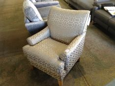 SILVER & GOLD PATTERNED ACCENT CAIR HH33-704703-38
