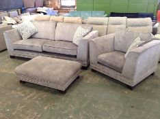 GREY SADDLE 4 SEATER SOFA CHAIR AND FOOTSTOOL (HH