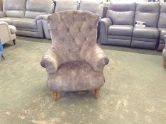 GREY BUTTON BACK ACCENT CHAIR (HH33-154232-51)
