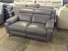 GREY LEATHER 2 SEATER WITH ADJUSTABLE HEAD REST (S