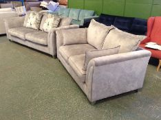 GREY SADDLE 3 SEATER AND 2 SEATER SOFA (SMALL RIP