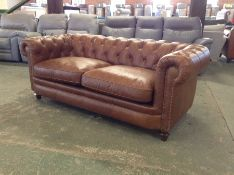 TAN LEATHER CHESTERFIELD 3 SEATER (HH33-155365-32