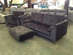 BLACK VELVET 3 SEATER CHAIR AND FOOTSTOOL (HH33-69