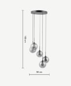   1x   Made.com Masako Chandelier Pendant Light Smoked & Opal Glass RRP £149   SKU MAD-