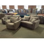 GREY FABRIC 3 SEATER, 2 SEATER & LIGHT GREY FABRIC