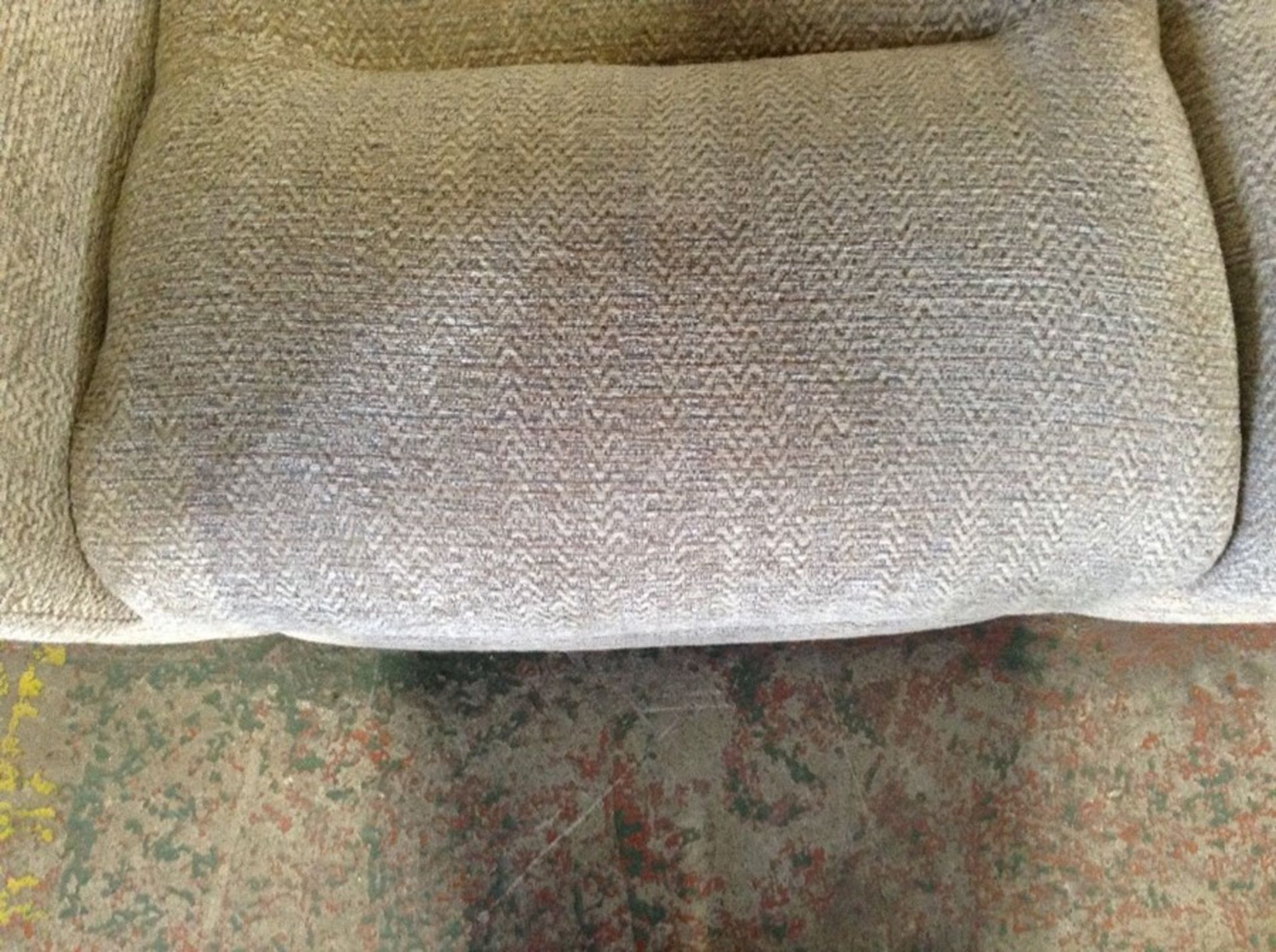 BISCUIT PATTERNED HIGH 3 SEATER ( WORN, DAMAGED) T - Image 2 of 2