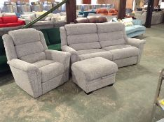 GREY PATTERNED HIGH BACK 3 SEATER SOFA CHAIR AND F