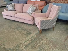PINK VELVET 3 SEATER SOFA AND GREY PATTERNED CHAIR