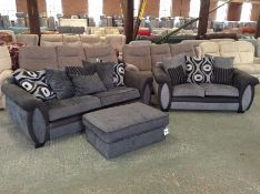 CHARCOAL & BLACK 3 SEATER, FOOT STOOL, gREY & BLAC