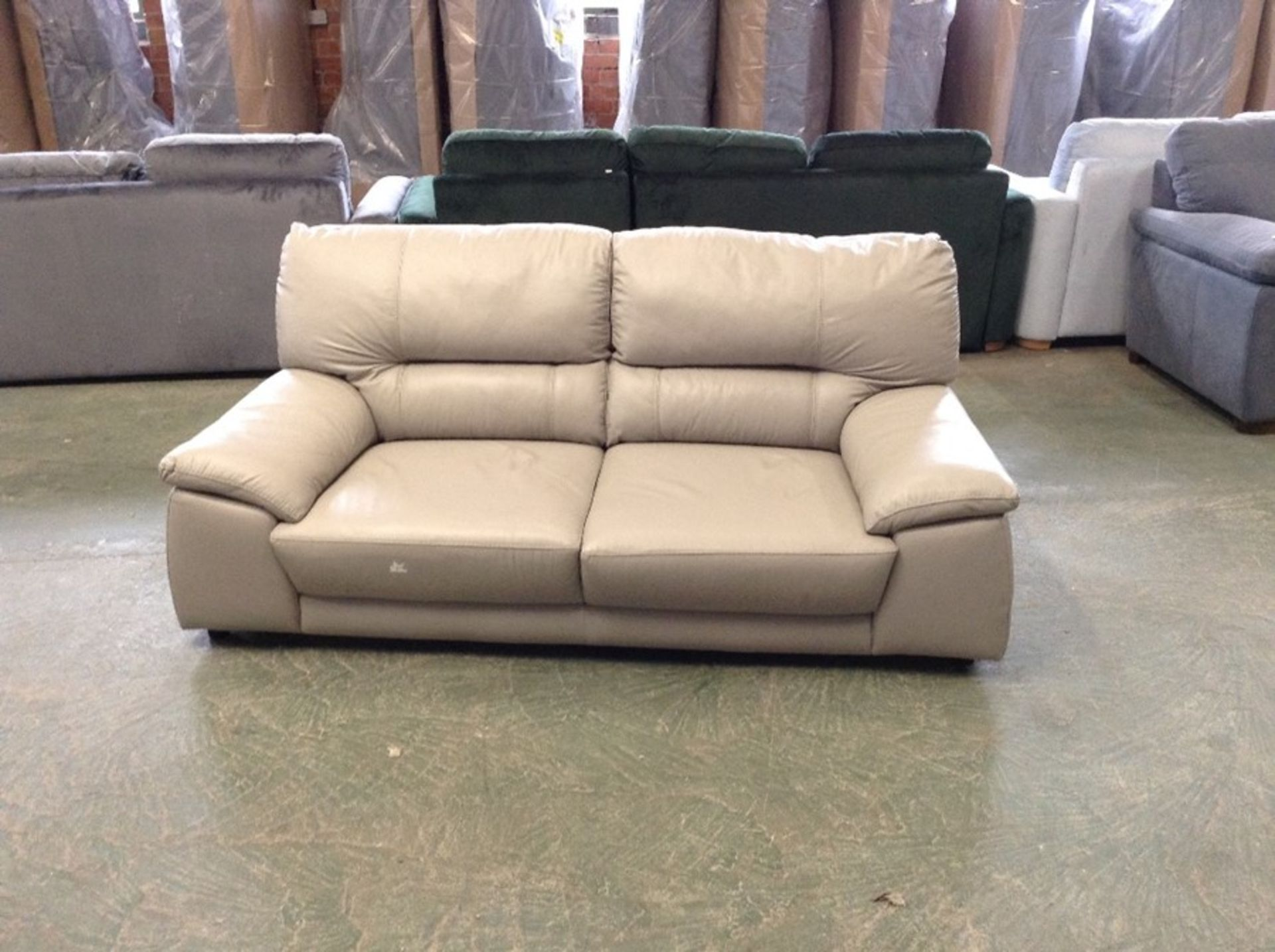 GREY LEATHER 3 SEATER (SMALL RIP ON CORNER) (MISSI