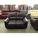 BLACK & GREY LEATHER 2 SEATER (RIP ON CUSHION)