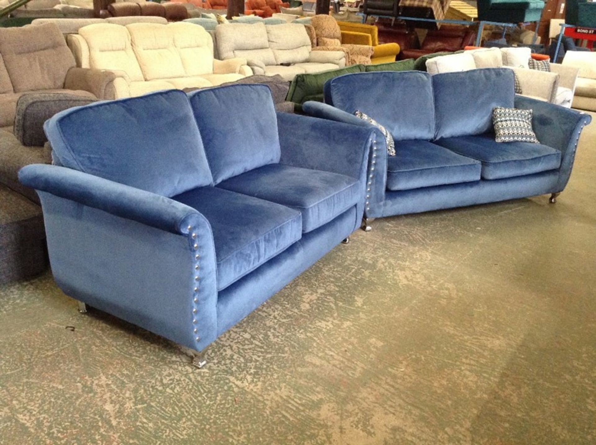 BLUE FABRIC 3 SEATER & 2 SEATER