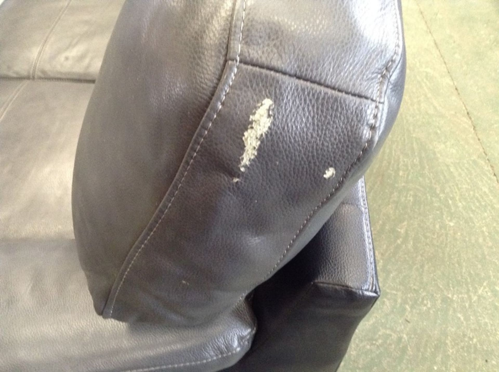 BLACK & GREY LEATHER 2 SEATER (RIP ON CUSHION) - Image 2 of 2