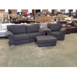 FABRIC 3 SEATER CHAIR & FOOTSTOOL (DAMAGE ON CHAIR
