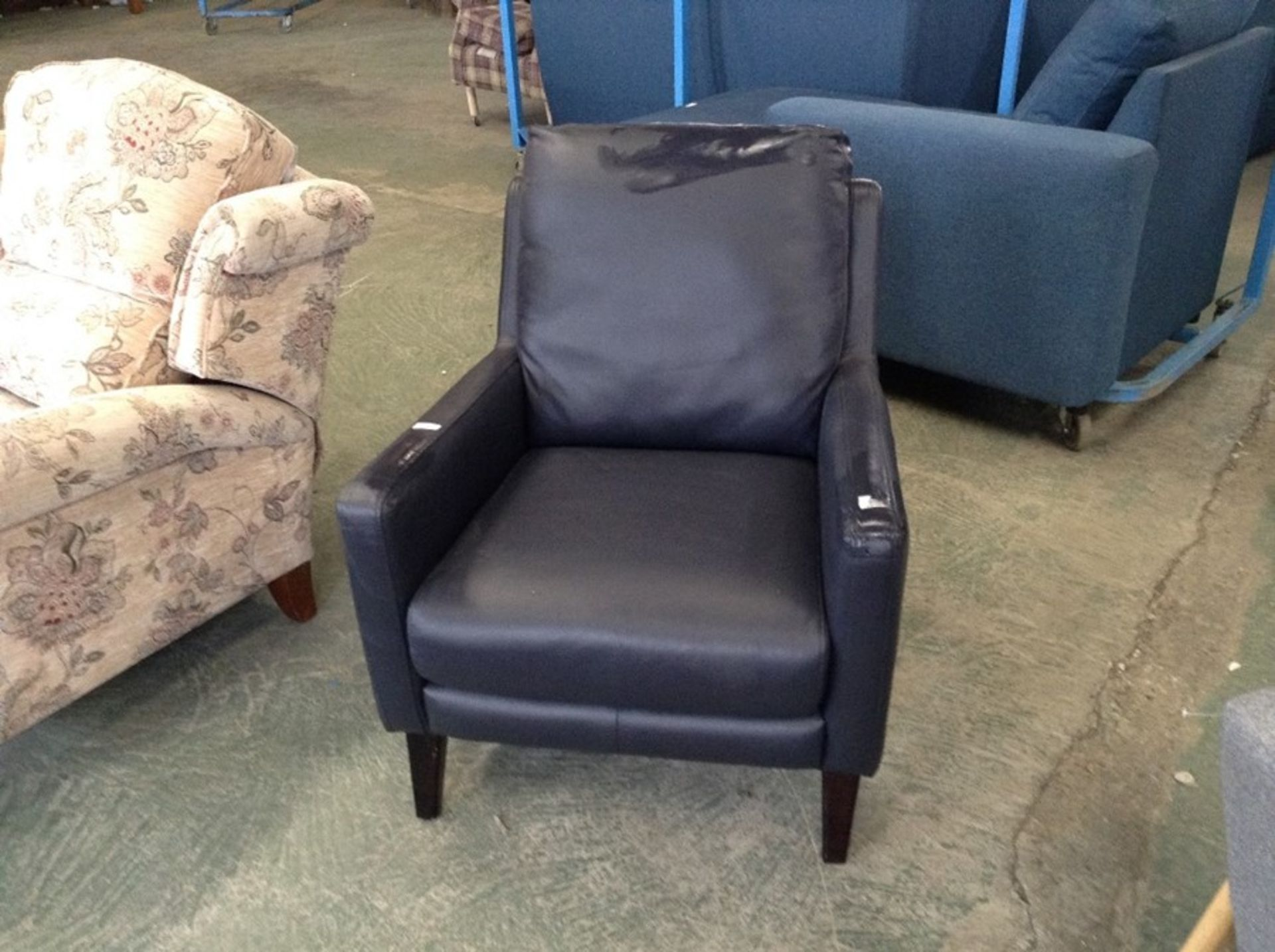 BLUE LEATHER ACCENT CHAIR (SCUFF ON BACK)