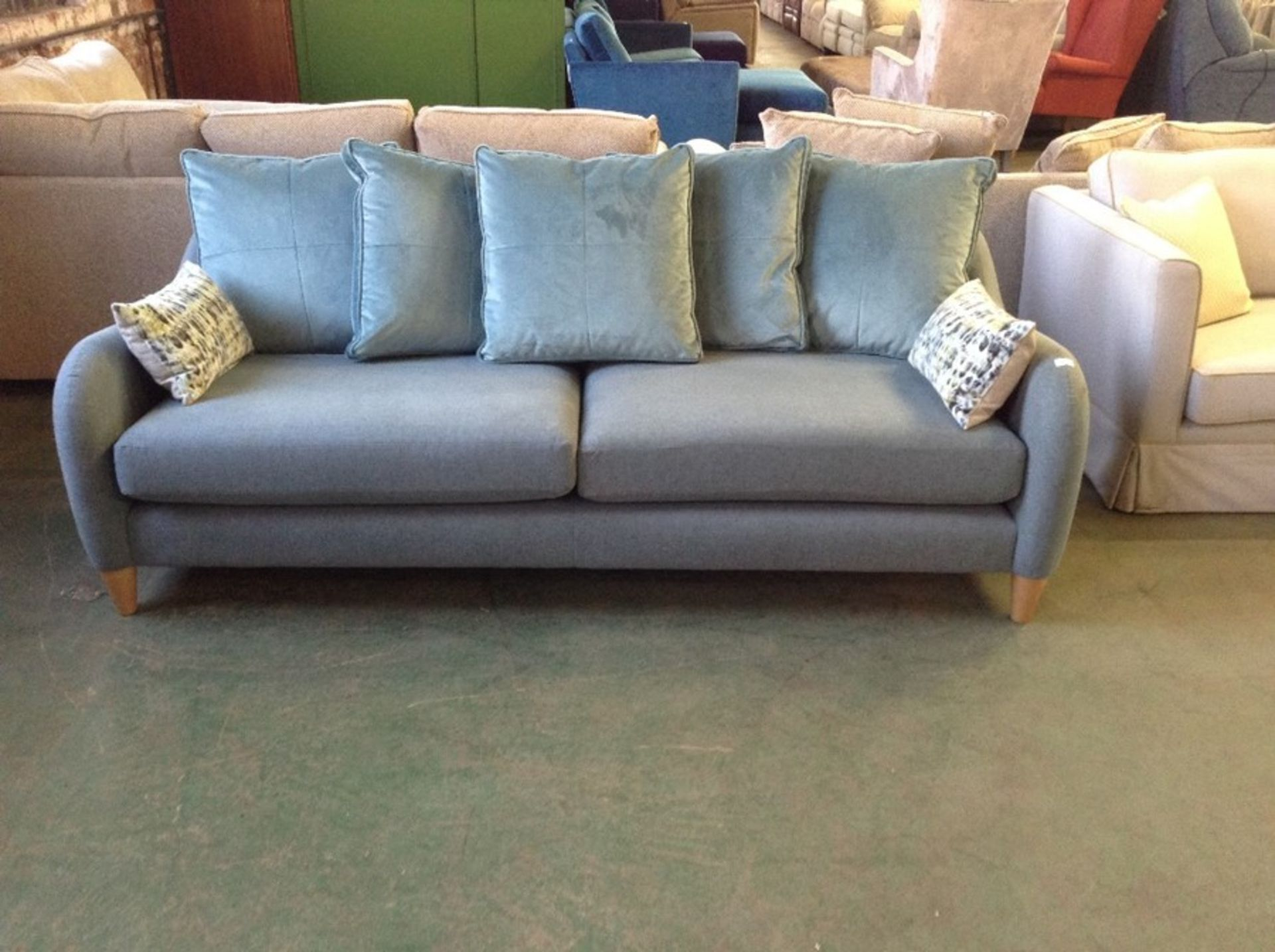 TEAL FABRIC 3 SEATER