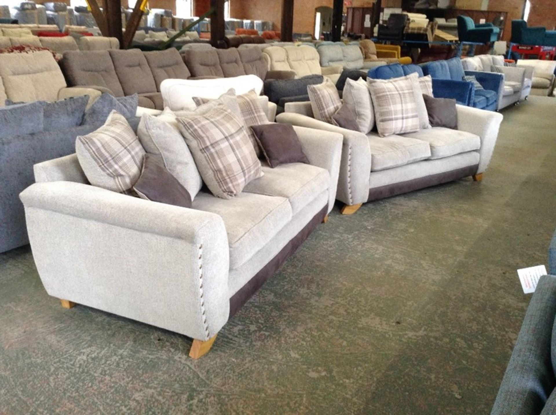 BEIGE FABRIC & BROWN SADDLE X2 2.5 SEATER SOFAS (R