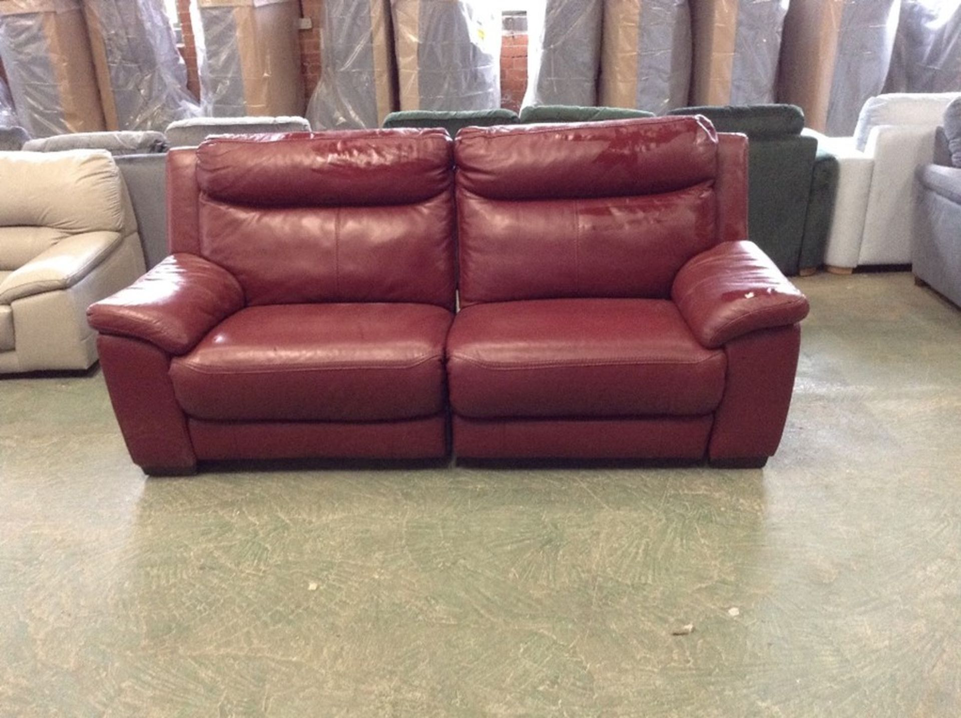 RED LEATHER ELECTRIC RECLINING 3 SEATER SOFA (MARK
