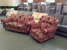 RED & GOLD FLORAL PATTERNED 2 SEATER & CHAIR