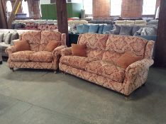 RED & GOLD FLORAL PATTERN HIGH BACK 3 SEATER & 2 S