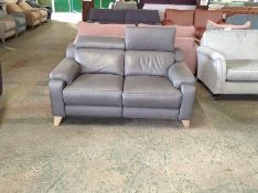 GREY LEATHER 2 SEATER WITH ADJUSTABLE HEADREST (WO