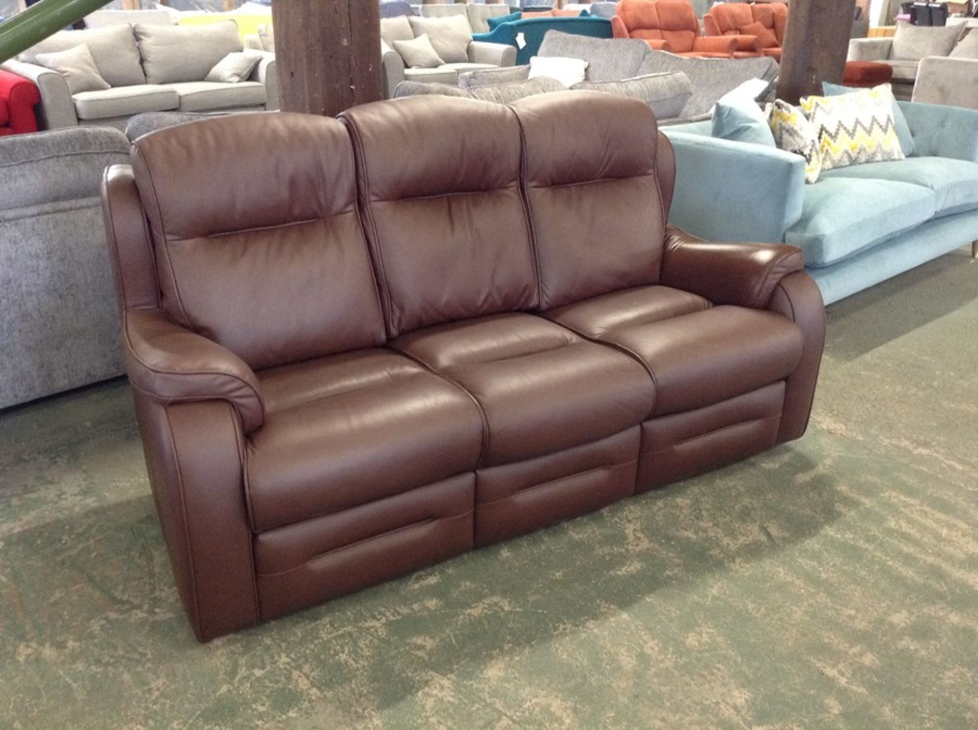 BROWN LEATHER HIGH BACK 3 SEATER SOFA (TROO2161-WOO788