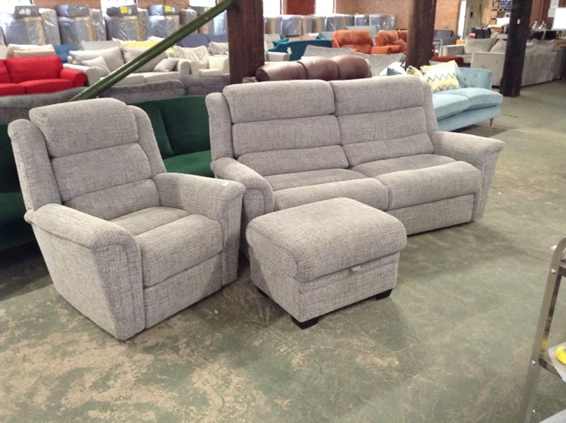 GREY PATTERNED HIGH BACK 3 SEATER SOFA CHAIR AND F - Image 2 of 2