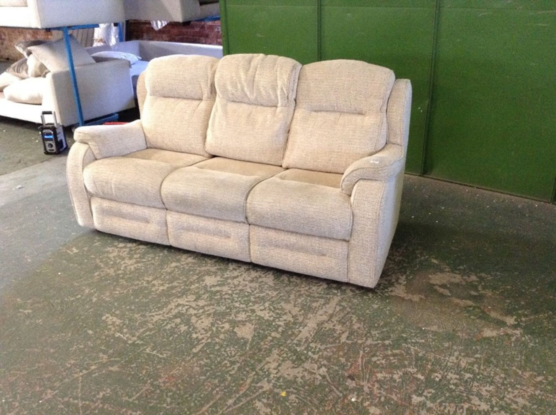 BISCUIT PATTERNED HIGH BACK 3 SEATER SOFA (FRAYING