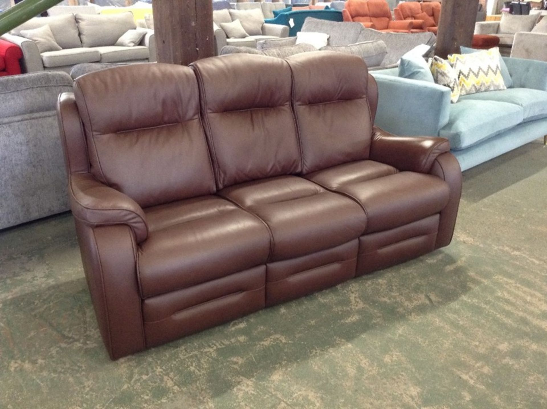 BROWN LEATHER HIGH BACK 3 SEATER SOFA (TROO2161-WOO788 - Image 2 of 2