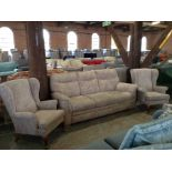 BEIGE PATTERNED HIGH BACK 3 SEATER SOFA AND 2 X W