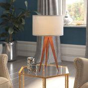 Latitude Run, Finsbury 51cm Tripod Table Lamp (BROWN BASE & WHITE SHADE) - RRP £69.99 (VSNR1037 -