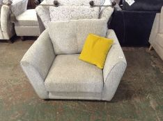 GREY FABRIC CHAIR (MISSING CORRECT FEET) (HH40-731