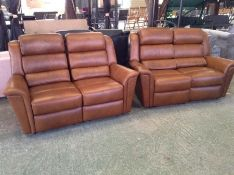 BROWN LEATHER ELECTRIC RECLINING 2 X 2 SEATER SOFA