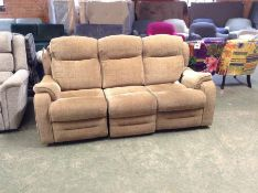 GOLDEN CHEQUERED ELECTRIC RECLINING 3 SEATER ( RET