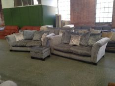 GREY PATTERNED 2 X 3 SEATER SOFA + STORAGE FOOTSTO
