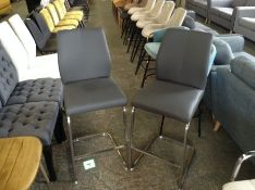 Grey Leather Pair of Bar Stools