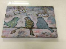 East Urban Home, Home Tweet Home' Watercolour Painting Print Canvas (41cm H X 61cm W X 3.81cm D) -