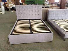 GREY FABRIC KINGSIZE BED FRAME (MISSING STRATS MAR