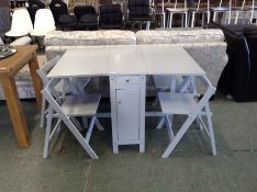 GREY DROP LEAF TABLE AND 4 CHAIRS (DAMAGED CORNER)